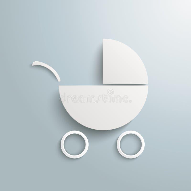 Białego papieru dziecka powozik ilustracja wektor