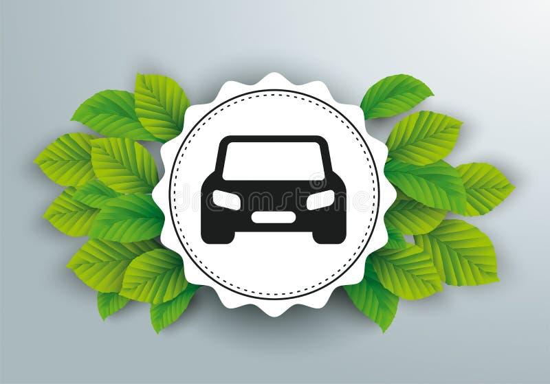 Białego papieru emblemata zieleń Opuszcza samochód ilustracja wektor