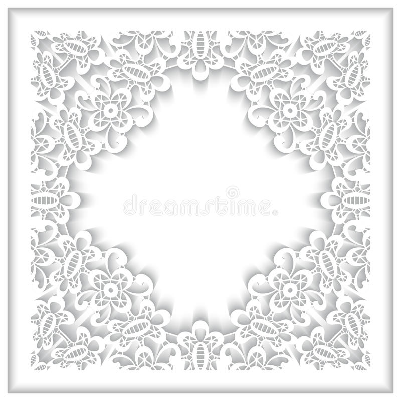 Białego papieru koronki rama ilustracji