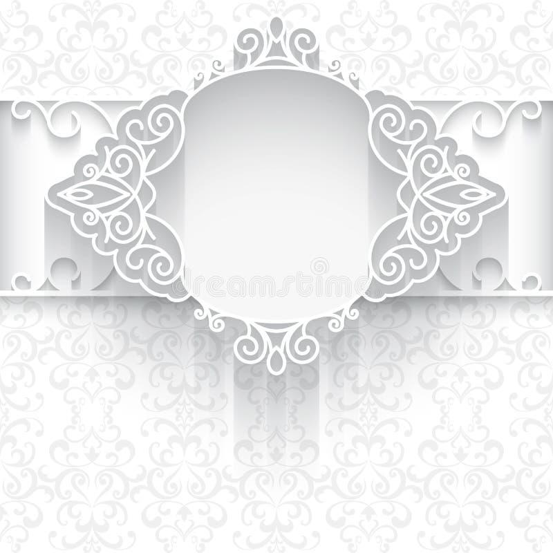 Białego papieru koronki tło ilustracji