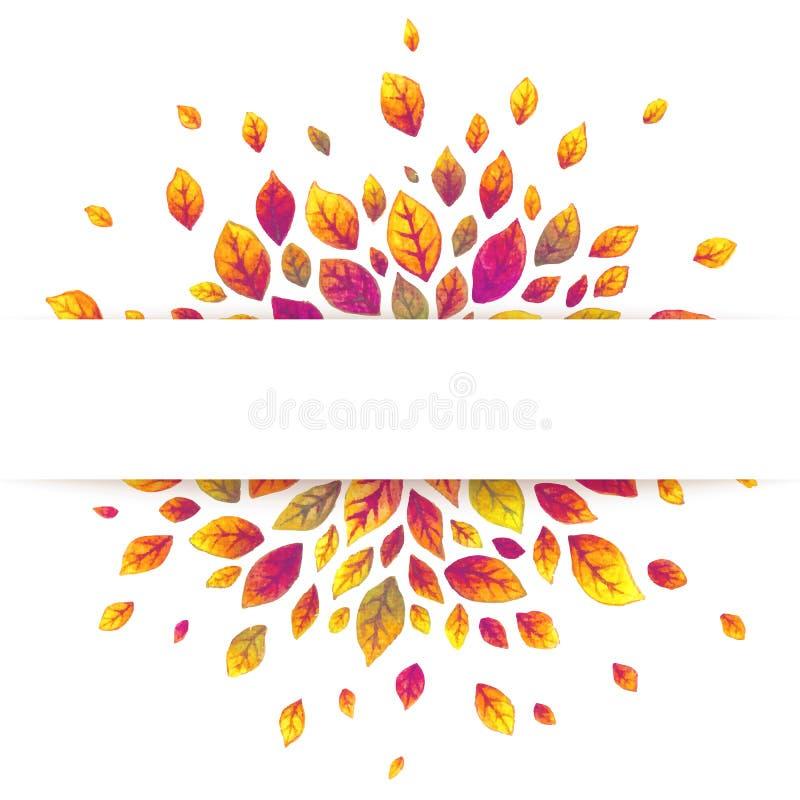 Białego papieru lampasa sztandar na czerwonym jesień liści tle ilustracji