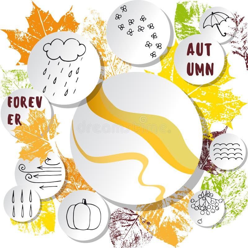 Białego papieru majchery na abstrakcjonistycznym jesiennym liścia tle ilustracji