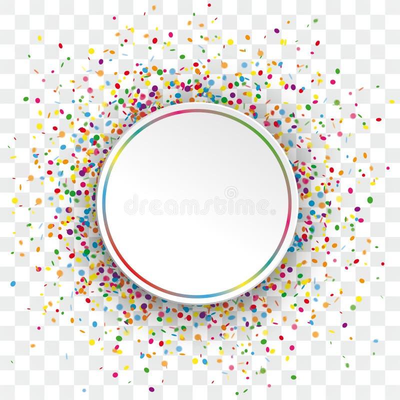 Białego papieru okręgu Kolorowi confetti Przejrzyści ilustracja wektor