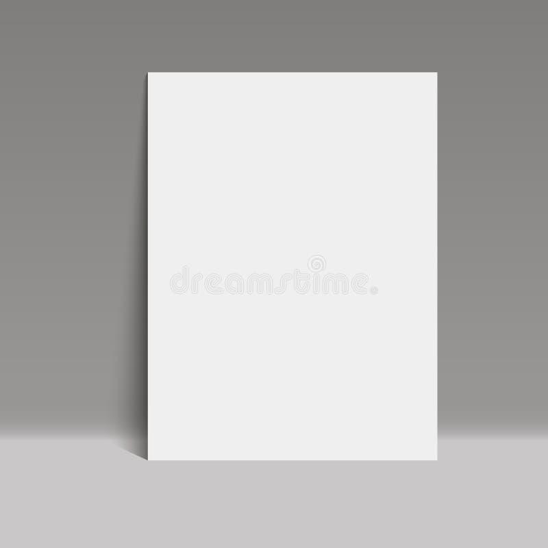 Białego papieru plakat w popielatym pracownianym pokoju, szablonu egzamin próbny w górę wektoru ilustracja wektor