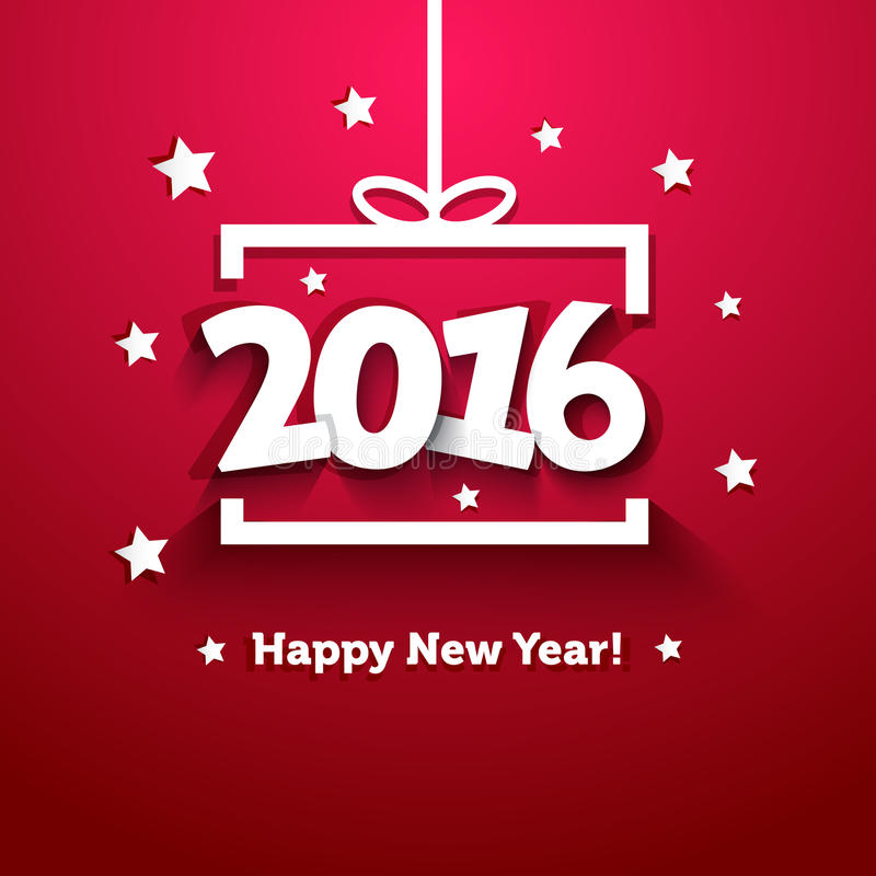 Białego papieru prezenta pudełko z 2016 nowy rok kartka z pozdrowieniami ilustracja wektor