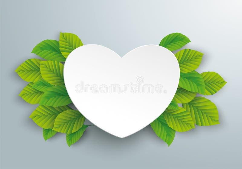 Białego papieru serca zieleni buku liście ilustracji