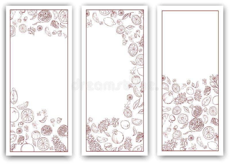 Białego papieru sztandary z tropikalnymi owoc royalty ilustracja