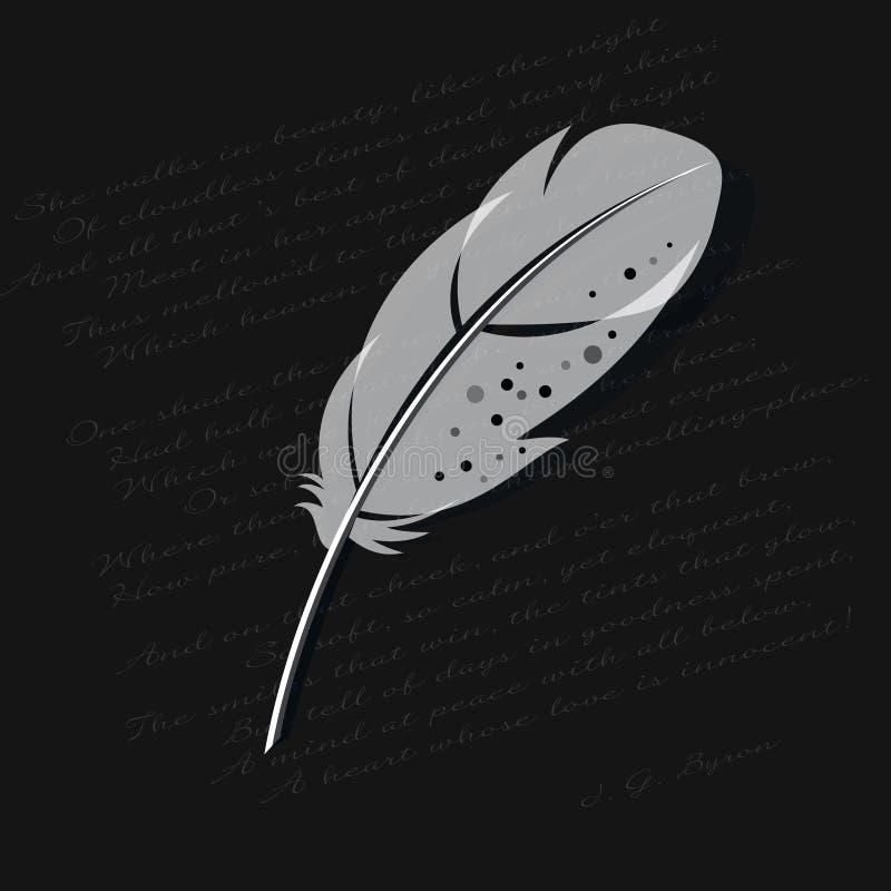 Białego piórka ilustracja Piórko odizolowywający na wiersza tle ilustracja wektor