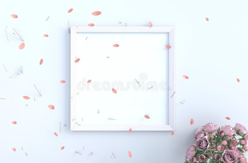 Białego pokoju tła wystrój z cios menchiami opuszcza ilustracja wektor