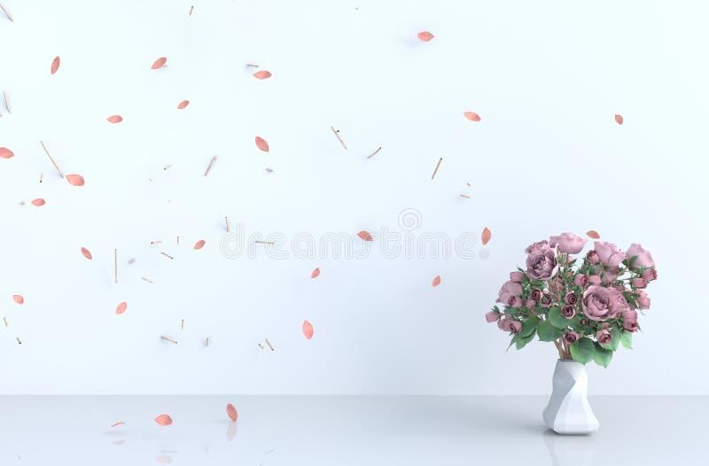 Białego pokoju tła wystrój z cios menchii liśćmi, gałąź, wzrastał 3 d czyni? royalty ilustracja