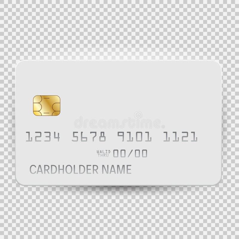 Białego pustego bank karty szablonu odgórny widok z cieniem odizolowywającym na przejrzystym tle również zwrócić corel ilustracji royalty ilustracja
