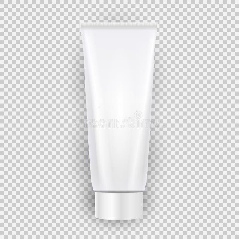 Białego pustego kremowego butelka szablonu odgórny widok z cieniem odizolowywającym na przejrzystym tle również zwrócić corel ilu ilustracja wektor