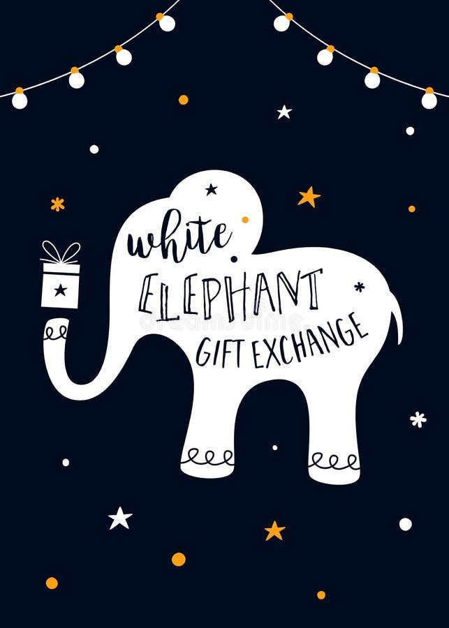 Białego Słonia prezenta wymiany Gemowa Wektorowa ilustracja ilustracji