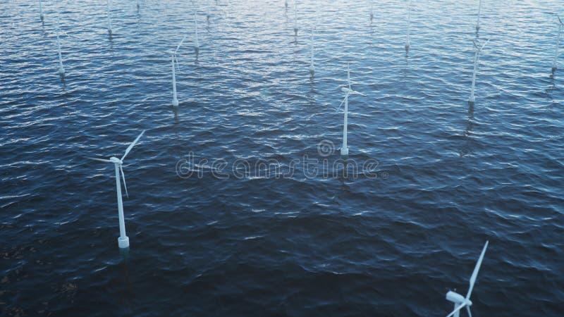 Białego silnika wiatrowego wywołująca elektryczność w morzu, ocean Czysta energia, wiatrowa energia, ekologiczny pojęcie, 3d ilus zdjęcia royalty free
