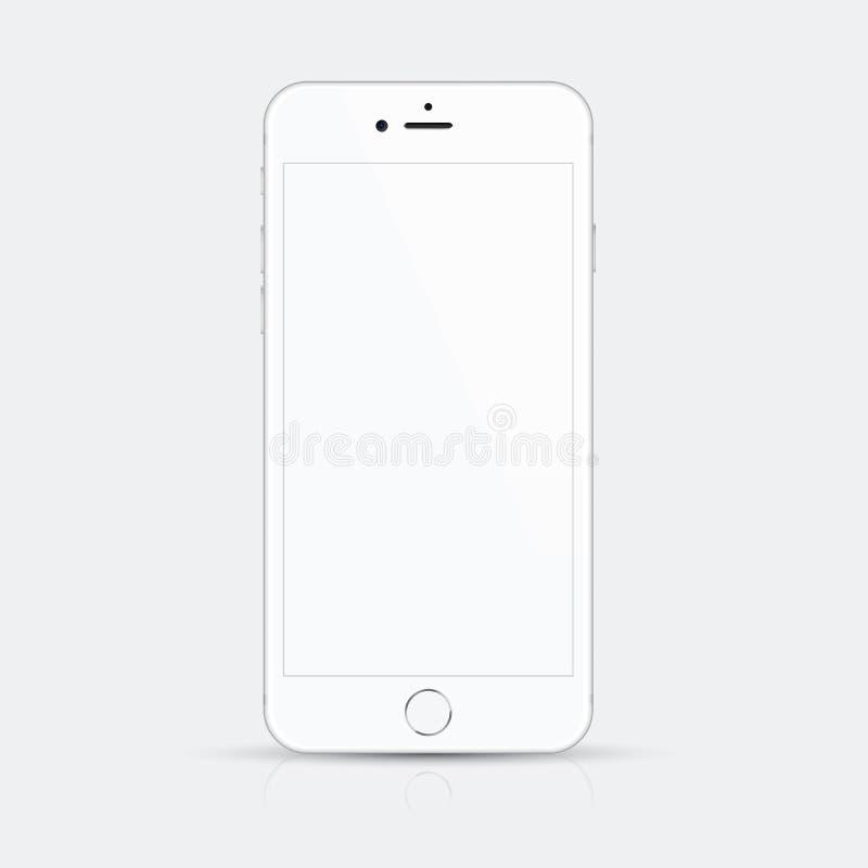 Białego smartphone wektorowa ilustracja z wysokiej jakości szczegółami ilustracji