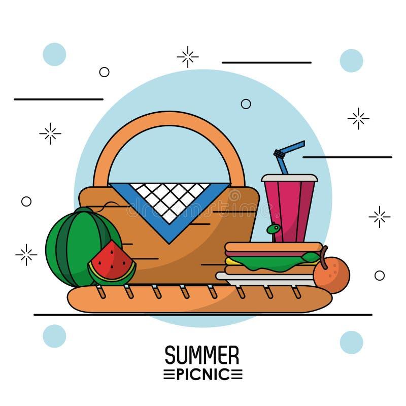 Białego tła gwiaździsty plakat lato pinkin z pyknicznymi koszykowymi owoc, kanapka i napój ilustracja wektor
