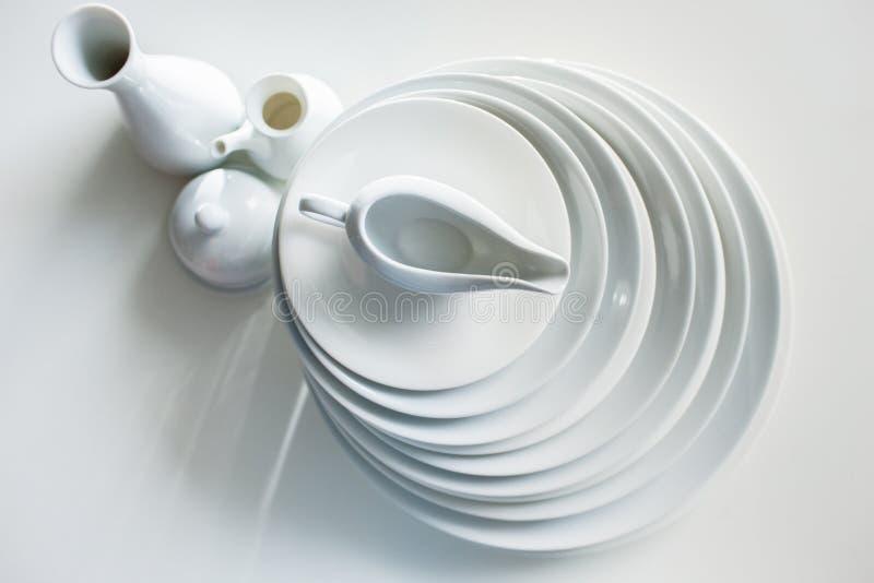 Białego tableware elegancki luksusowy crockery obrazy royalty free