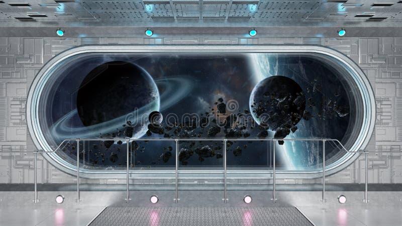 Białego technika statku kosmicznego tła 3D round nadokienny wewnętrzny renderi ilustracji