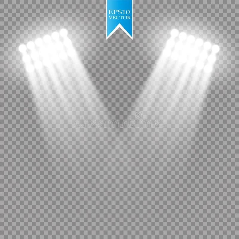 Białego wektorowego światła reflektorów lekki skutek na przejrzystym tle Koncertowa scena z iskrami iluminować jarzeniowym promie royalty ilustracja