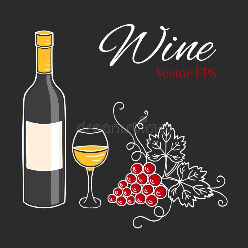 Białego wina butelka, szkło i winogrono wektoru ilustracja, ilustracji