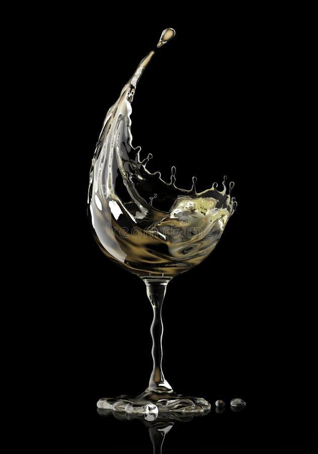 Białego wina szkło na czarnym tle ilustracja wektor