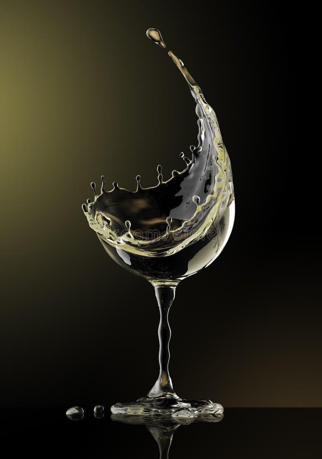 Białego wina szkło na czarnym tle royalty ilustracja
