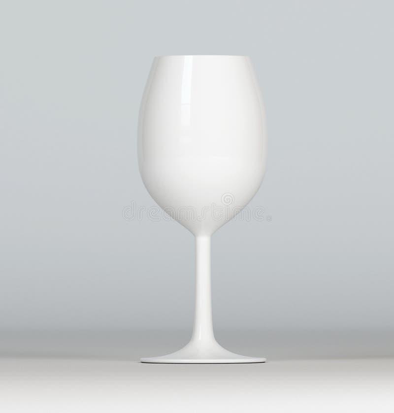 Białego wina szkło na popielatym tle, mockup, 3d odpłaca się ilustracji
