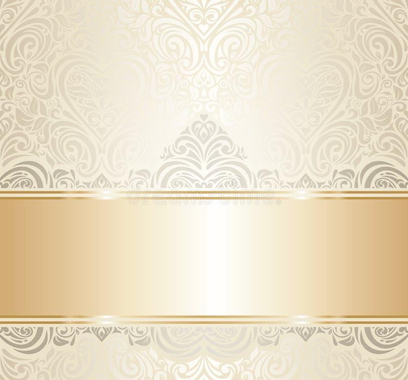 Białego & złocistego rocznika zaproszenia luksusowy projekt fotografia stock