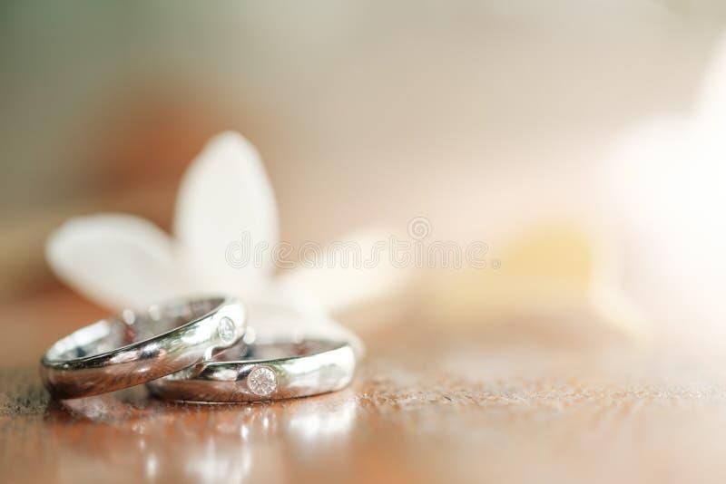 Białego złota obrączki ślubne na drewnianym tle obraz stock
