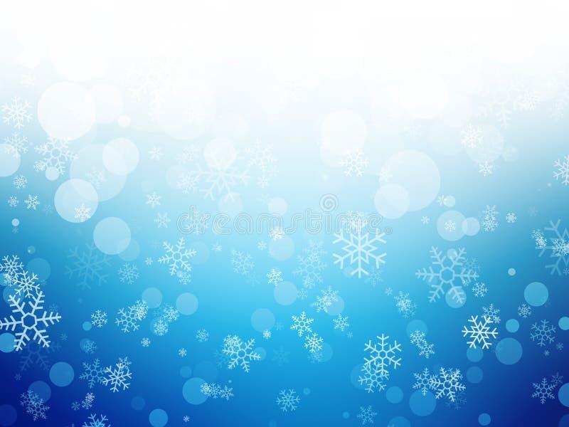 Białej błękitnej zimy Bożenarodzeniowy tło z płatkami śniegu ilustracja wektor