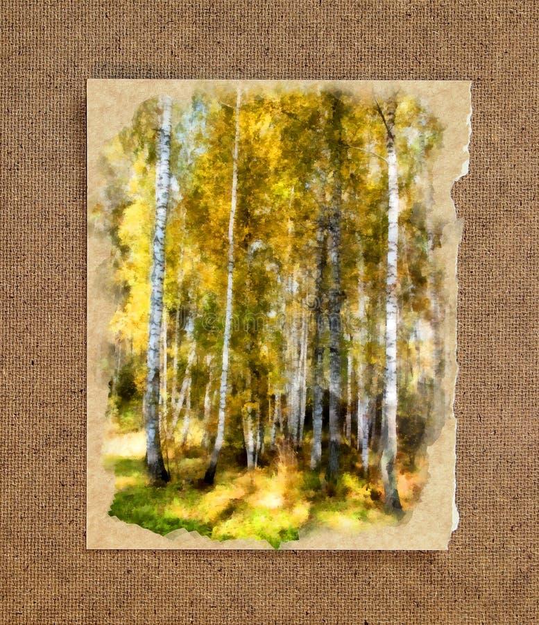 Białej brzozy bagażniki w złotej sukni Rosyjska jesieni akwarela zdjęcie stock