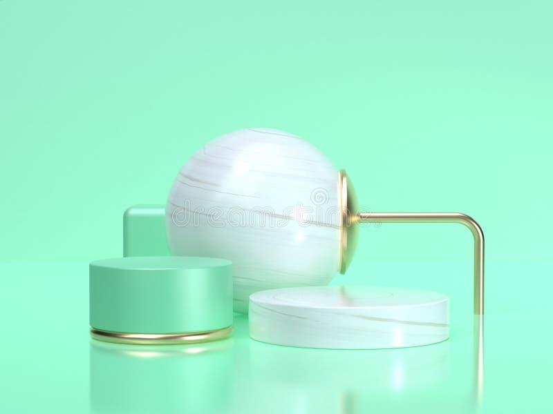 Białej dużej sfery 3d renderingu kształta wciąż życia setu abstrakcjonistycznej geometrycznej zieleni sceny sfery biała butla ilustracji