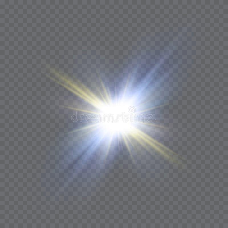 Białej iskry błyskotliwości specjalny lekki skutek Wektor błyska na przejrzystym tle Bożenarodzeniowy abstrakta wzór ilustracji