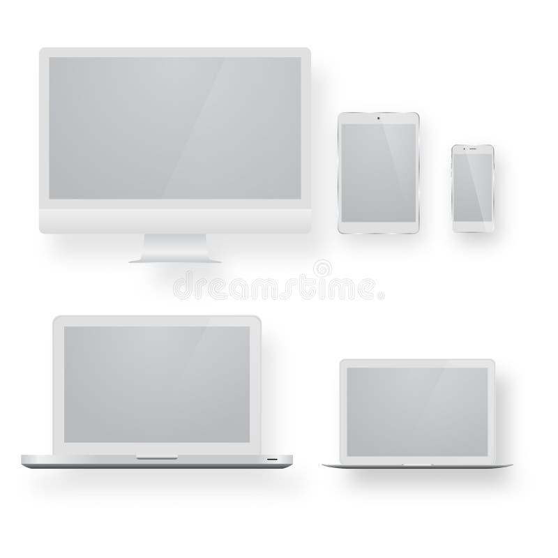 Białej komputeru stacjonarnego pokazu ekranu smartphone pastylki przenośny notatnik lub laptop ilustracja wektor