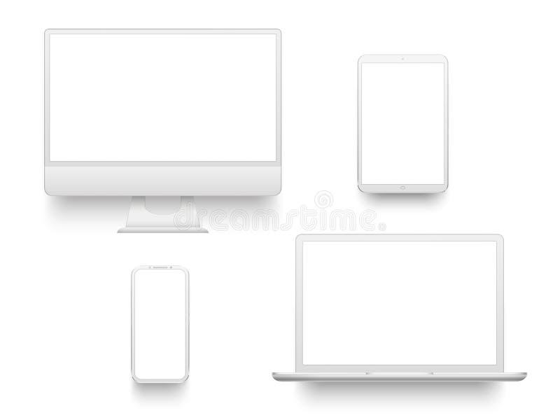 Białej komputeru stacjonarnego pokazu ekranu smartphone pastylki przenośny notatnik lub laptop Mockup elektronika przyrząda wekto royalty ilustracja