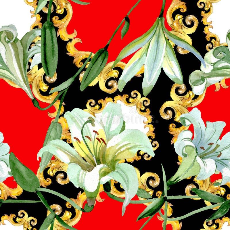 Białej lelui kwieciści botaniczni kwiaty Akwareli t?a ilustracji set Bezszwowy t?o wz?r ilustracji