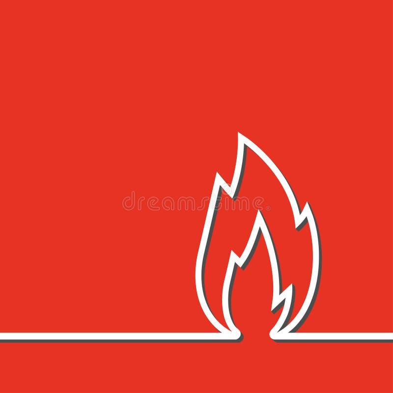 Białej linii znaka płomienia ikona odizolowywająca na czerwieni ilustracja wektor