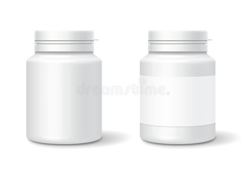Białej medycyny plastikowa butelka dla pastylek, pigułki ilustracja wektor