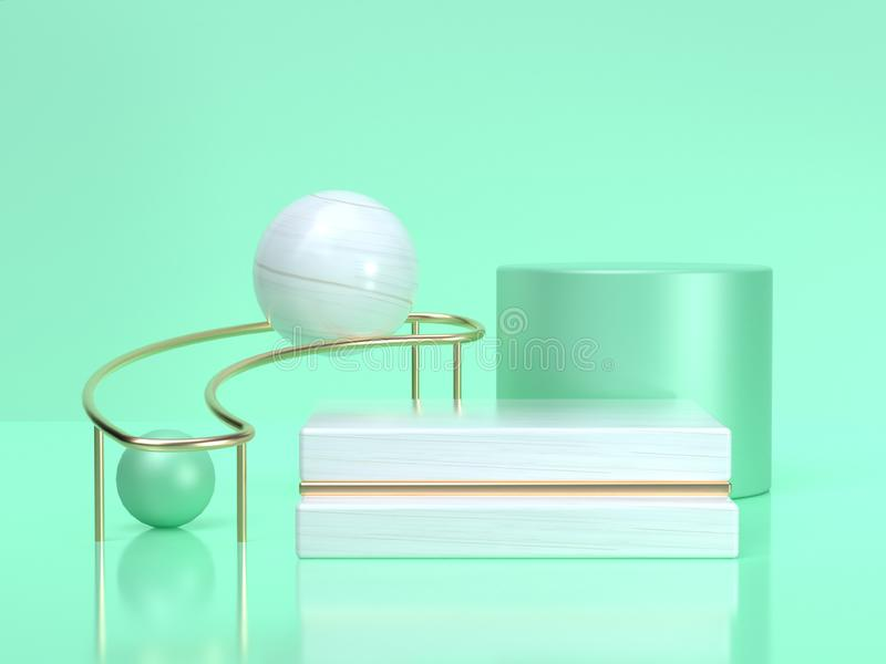 Białej piłki 3d renderingu kształta wciąż życia setu abstrakcjonistycznej geometrycznej zieleni sceny butli zieleni bielu biała s royalty ilustracja