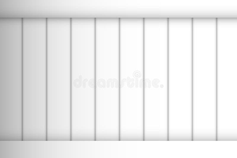 Białej Pionowo ogrodzenie ściany drewien bezszwowy wzór z odgórną horyzontalną granicą przy odgórnym tłem royalty ilustracja