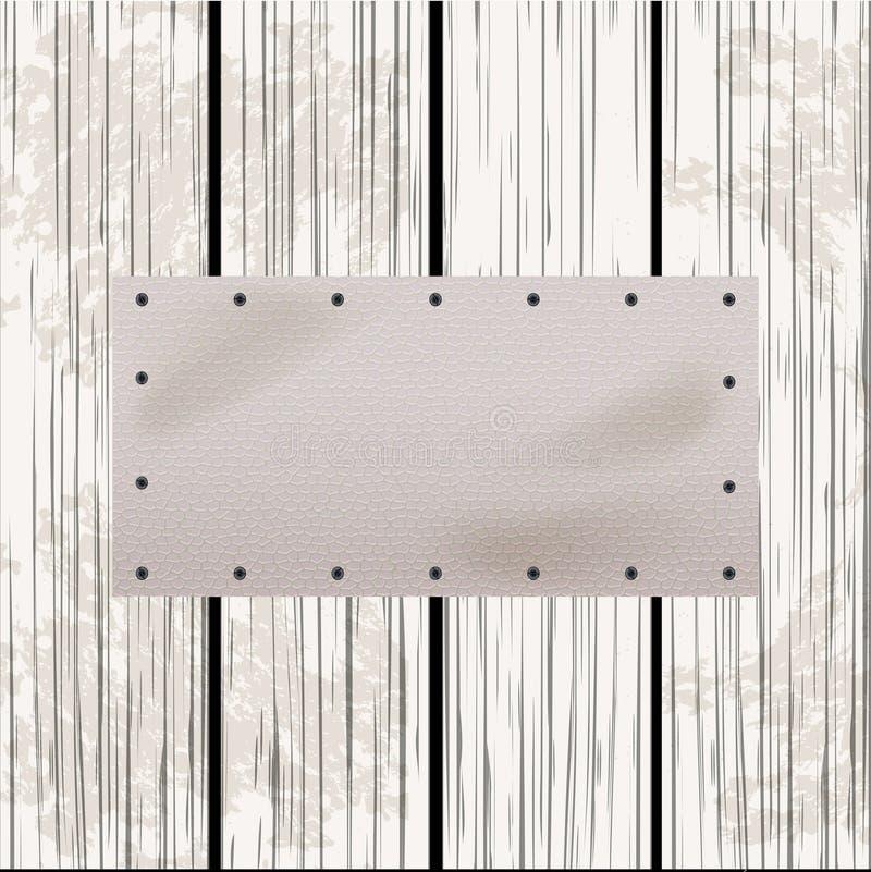 Białej skóry etykietka na zakłopotanym drewnianym panelu ilustracji