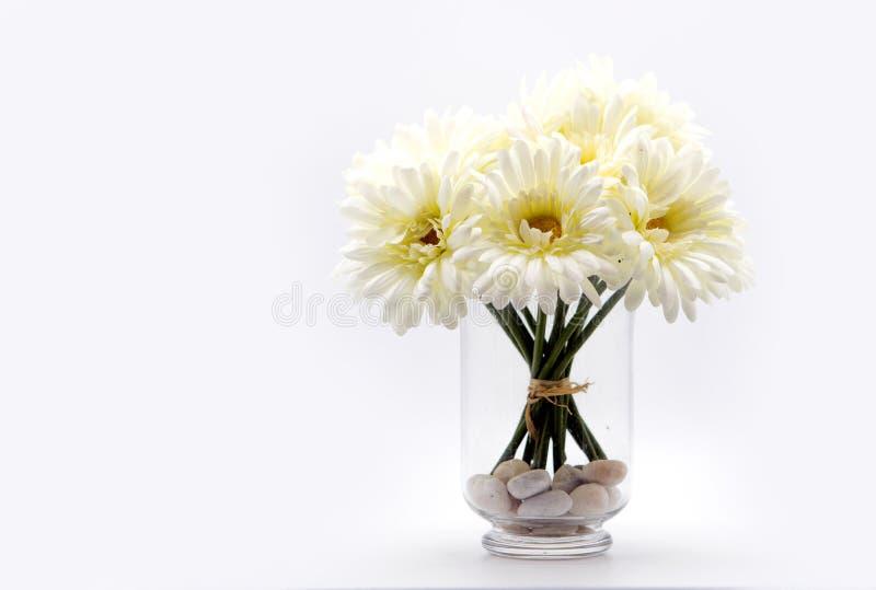 białej stokrotki bukiet w szklanej wazie obrazy stock