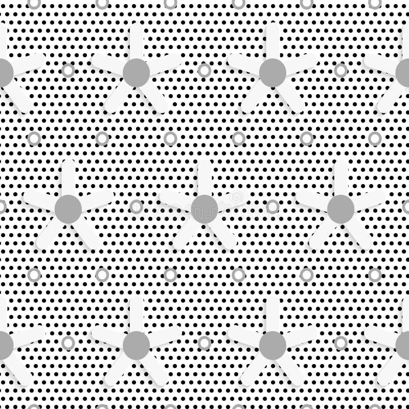 Białej stokrotki kwiat na czerń kropka textured wzorze ilustracja wektor