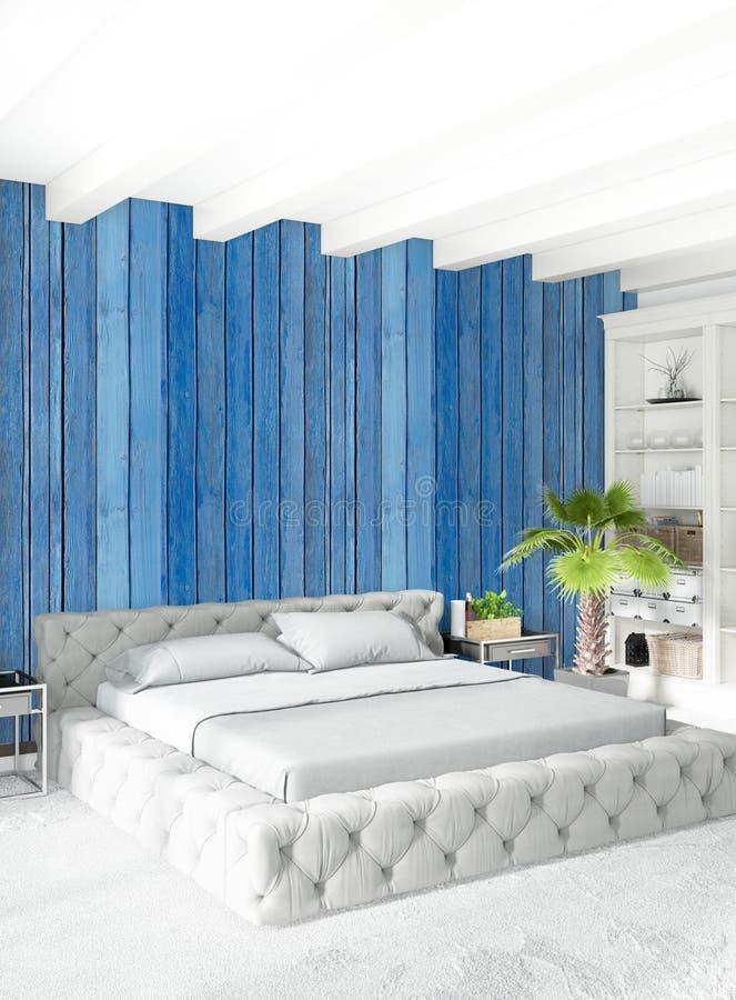 Białej sypialni minimalny stylowy Wewnętrzny projekt z drewno ścianą i popielatą kanapą świadczenia 3 d royalty ilustracja