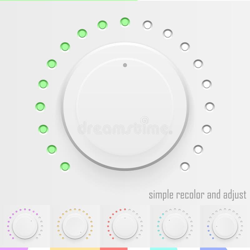 Białej technologii muzyczny guzik, tomowa gałeczka z realistycznym projektem royalty ilustracja