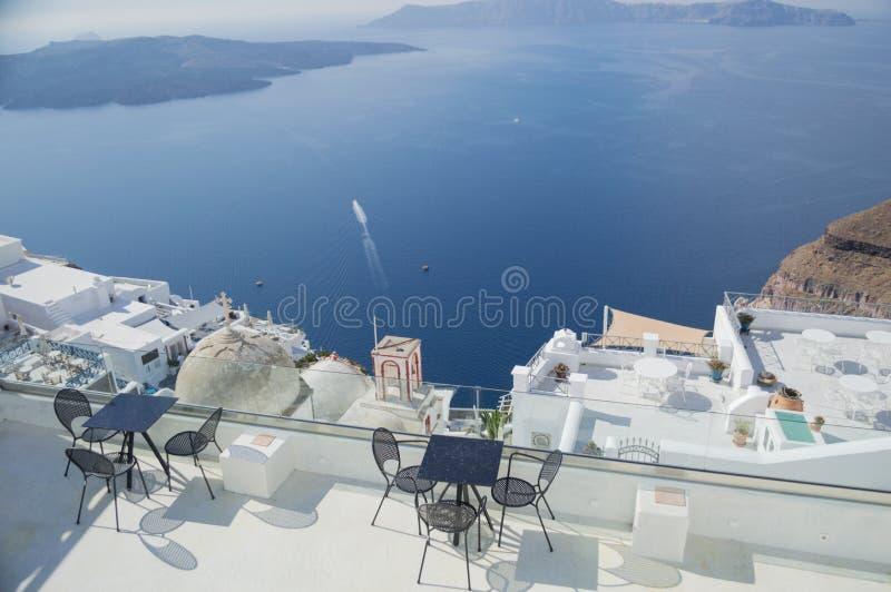 Białkujący domy i Denny widok, Santorini, Cyclades, Grecja obraz royalty free