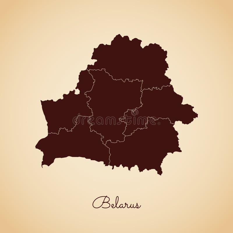 Białoruś regionu mapa: retro stylowy brown kontur dalej ilustracji