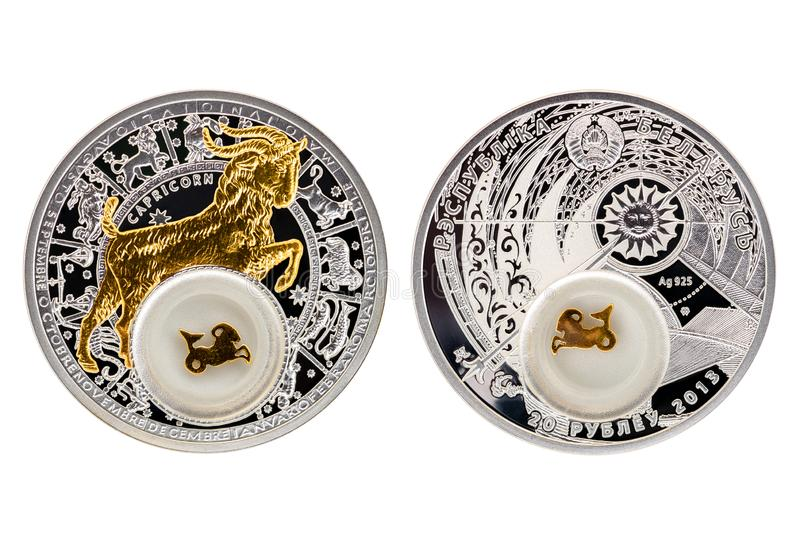 Białoruś srebnej monety astrologii Capricorn zdjęcia royalty free