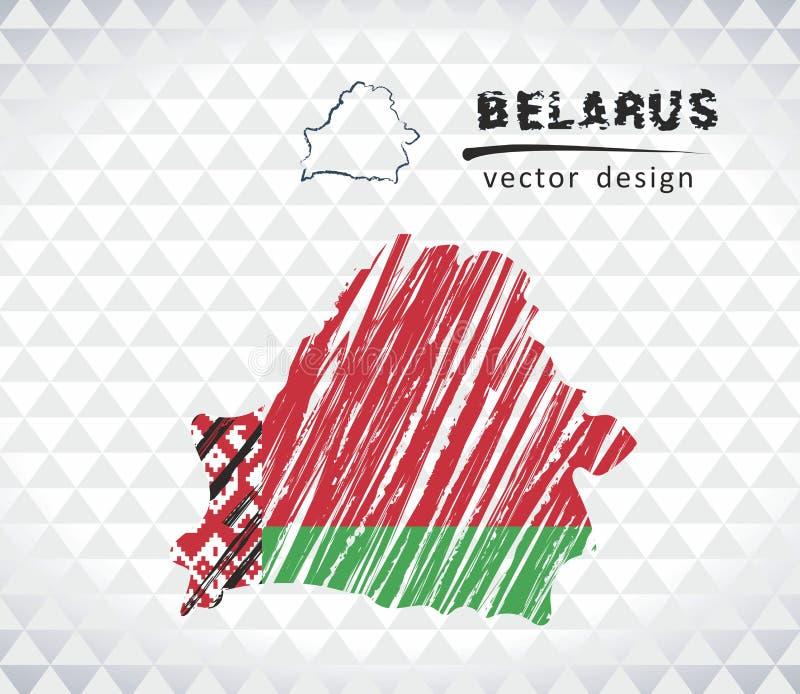 Białoruś wektorowa mapa z flaga inside odizolowywającym na białym tle Nakreślenie kredy ręka rysująca ilustracja ilustracji