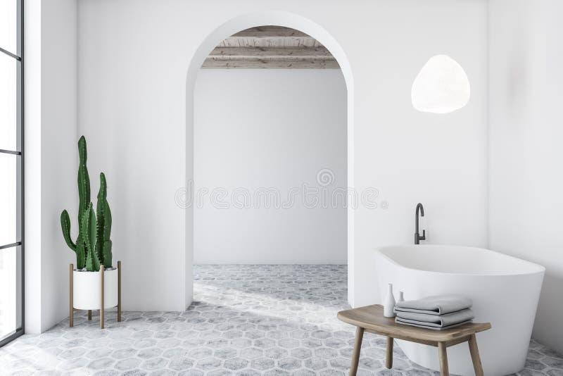 Biały łukowaty łazienki wnętrze z balią ilustracja wektor